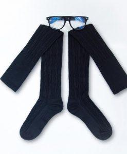 جوراب زنانه مشکی ساق بلند و عینک