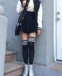 جوراب ساق بلند مشکی سه خط