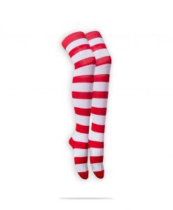 جوراب راه راه ساق بلند سفید و قرمز