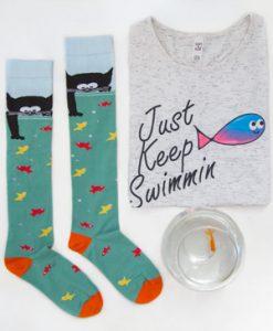 جوراب زیر زانو گربه و ماهی