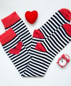 جوراب زیرزانو راه راه تک قلبی